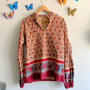 Vintage 70s Large Maroon Floral Long Sleeve Blouse
